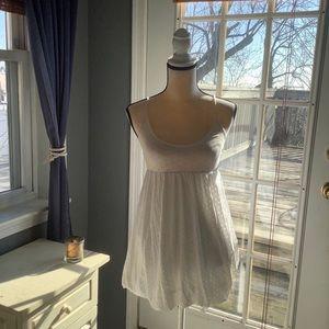 NWOT LF White Polka-Dot Bubble Hem Mini Dress XS